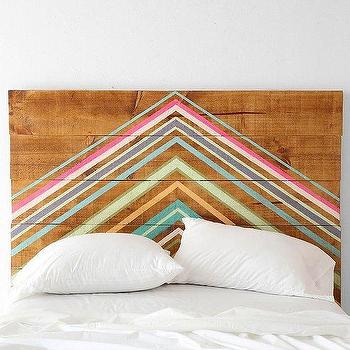 Beds/Headboards - Oh My Wood! Pyramid Headboard Ic Urban Outfitters - chevron painted headboard, triangle painted headboard, wooden headboard with painted design,