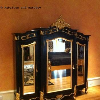French, Bedroom, Black and Gold Mirrored Armoire