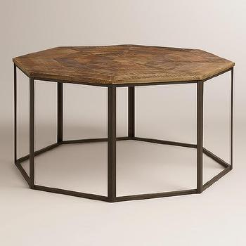 Tables - Iliana Coffee Table | World Market - hexagonal parquet coffee table, parquet topped coffee table, hexagonal shaped parquet coffee table,