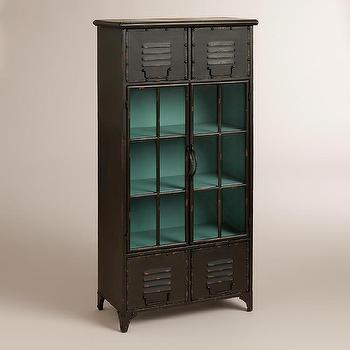 Storage Furniture - Kiley Metal Locker Cabinet | World Market - metal storage lockers, black locker cabinet, black locker style cabinet,
