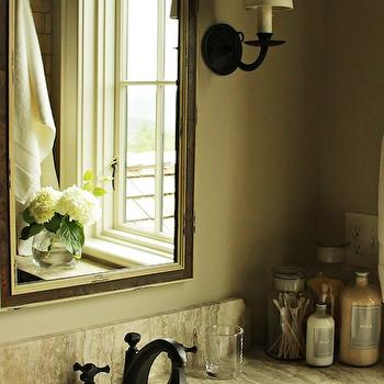 Elle Scrase - bathrooms - country bath, country bathrooms, country bathroom ideas, rustic baths, rustic bathroom ideas, rustic country baths, rustic country bathrooms, beveled mirror, beveled vanity mirror, stone top vanity, oil rubbed bronze sconce, oil rubbed bronze faucet,
