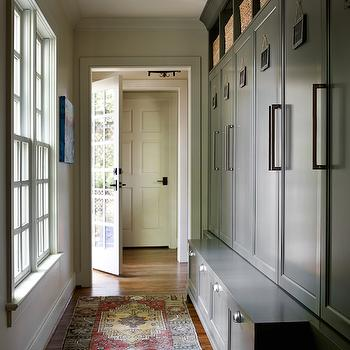 Elle Scrase - laundry/mud rooms - long mudrooms, long mudroom ideas, mudroom cubbies, gray cubbies, gray mudroom cubbies, gray mudroom lockers, open lockers, mudroom open lockers, gray open mudroom lockers, chalkboard name tags, mudroom storage bench, kilim rug,