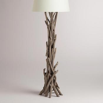 Lighting - Driftwood Floor Lamp Base | World Market - driftwood floor lamp, gray driftwood floor lamp, real driftwood floor lamp,