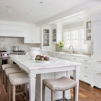 Hickory Chair Barstools, Transitional, kitchen, Benjamin Moore Simply White, Liz Schupanitz Designs