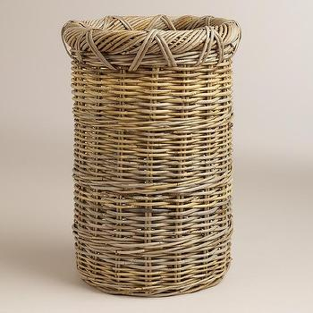 Decor/Accessories - Gray Jillian Umbrella Stand | World Market - rattan umbrella stand, kubu umbrella stand, gray rattan umbrella basket,