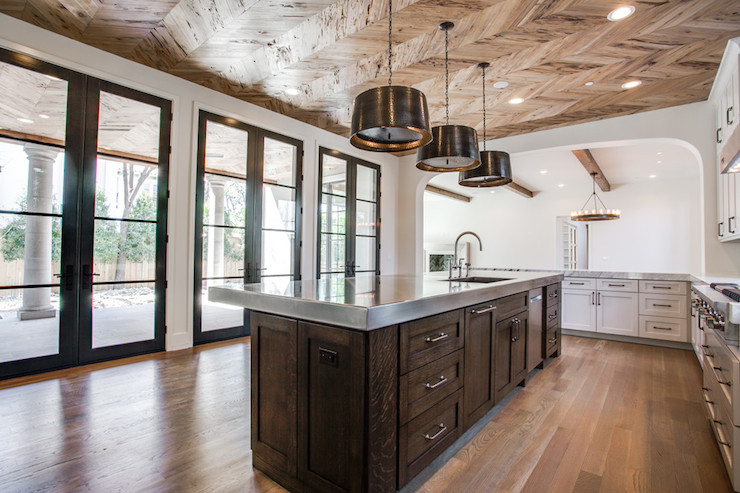 Chevron Ceiling Contemporary Kitchen Tatum Custom Homes