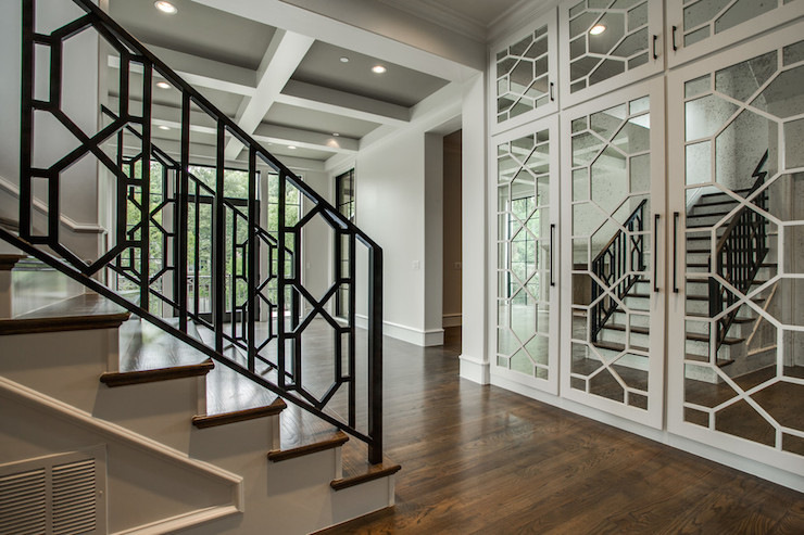 Antiqued Mirrored Doors Contemporary Entrance Foyer