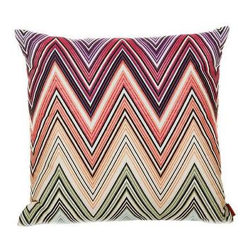 Pillows - Missoni Home Kew Cushion | Amara - missoni chevron pillow, missoni zigzag pillow, pink and purple chevron pillow,