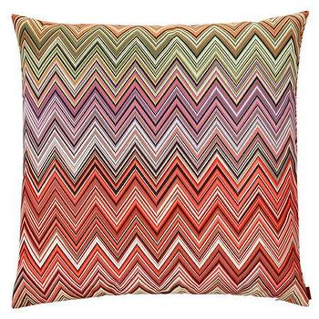 Pillows - Missoni Home Oketo Cushion | Amara - multi colored zigzag pillow, pink purple green chevron pillow, missoni zigzag pillow,