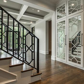 Antiqued Mirrored Doors, Contemporary, entrance/foyer, Tatum Custom Homes