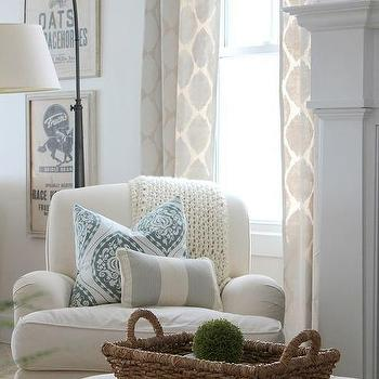 Proverbs 31 Girl - living rooms - Martha Stewart - Glass of Milk - white upholstered club chair, reading chair, reading corner,  white reading