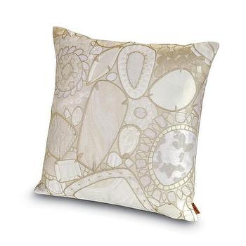 Pillows - Missoni Home Pessac Cushion | Amara - jewel motif pillow, cream jewel pillow, cream metallic pillow,