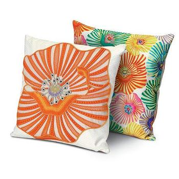Pillows - Missoni Home Omeo Cushion | Amara - orange flower pillow, reversible floral print pillow, reversible missoni pillow,