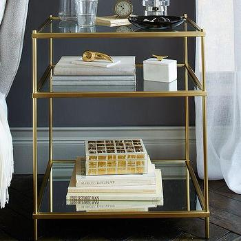 Storage Furniture - Terrace Nightstand | West Elm - antique brass nightstand, antique brass and glass nightstand, antiqued brass nightstand with glass shelves,