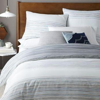 Bedding - Skinny Mini Stripe Duvet Cover + Shams | West Elm - gray thin striped duvet, gray striped duvet cover, modern gray striped bed linens,