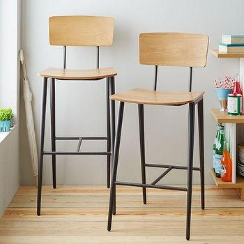 Seating - Slope Leg Bar + Counter Stool | West Elm - bentwood seat barstool, bentwood and metal bar stool, modern wood counter stool,