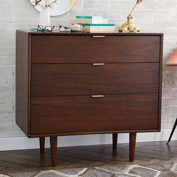 Storage Furniture - Miles + May 3-Drawer Dresser | West Elm - modern walnut dresser, 3 drawer walnut dresser, walnut veneer dresser,