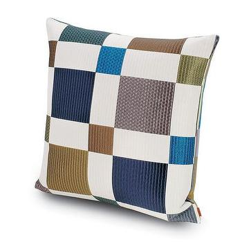 Pillows - Missoni Home Praslin Cushion | Amara - brown and blue geometric pillow, chessboard pillow, blue and brown chessboard pillow,