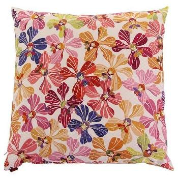 Pillows - Missoni Home Meketewa Cushion | Amara - multi colored flora pillow, missoni floral pillow, pink and orange floral pillow,