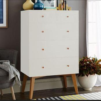 Storage Furniture - Tall Storage 5-Drawer Dresser - White | West Elm - mid century white dresser, modern white dresser, tall white dresser with wooden legs, tall 5 drawer dresser,