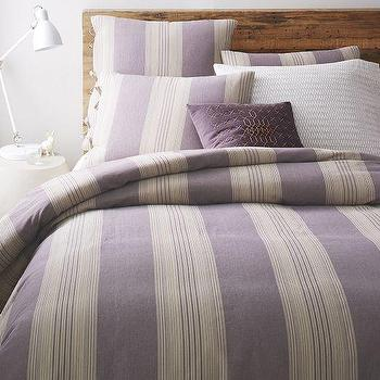 Bedding - Coastal Stripe Duvet Cover + Shams - Dark Iris | West Elm - lavender striped duvet, purple striped bedding, lavender and cream striped duvet,