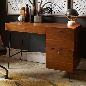 Tables - Grasshopper Desk | West Elm - modern walnut desk, retro style walnut desk, walnut desk with metal legs, walnut veneer desk with metal legs,