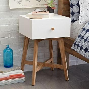 Storage Furniture - Tall Storage Nightstand - White | West Elm - modern white nightstand, white nightstand with wood legs, white single drawer modern nightstand,