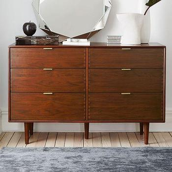Storage Furniture - Miles + May 6-Drawer Dresser | West Elm - walnut veneer dresser, modern walnut dresser, walnut dresser with tapered legs, walnut dresser with tab pulls,
