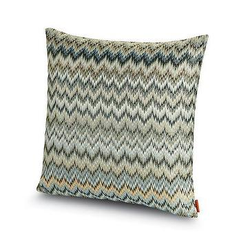 Pillows - Missoni Home Plaisir Cushion | Amara - silver and blue chevron pillow, silver gray chevron pillow, silver blue zigzag pillow,