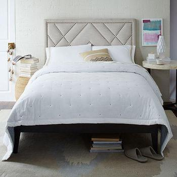 Beds/Headboards - Patterned Bed - Natural | West Elm - nailhead patterned headboard, art deco nailhead headboard, linen nailhead trimmed headboard,