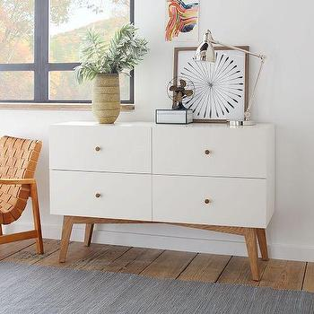 Storage Furniture - Tall Storage 4-Drawer Dresser - White | West Elm - white 4 drawer dresser, mid century style white dresser, mid century modern white dresser,