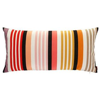 Pillows - Missoni Home Overall Cushion | Amara - orange black and white striped pillow, orange and black striped lumbar pillow, striped missoni pillow,