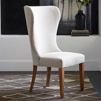 Seating - Albie Wing Dining Chair | West Elm - linen wing dining chair, natural linen dining chair, contemporary linen dining chair,