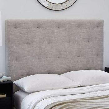 Beds/Headboards - Diamond Tufted Headboard | West Elm - gray diamond tufted headboard, diamond tufted headboard, contemporary gray tufted headboard,