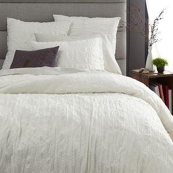 Bedding - Crinkle Duvet Cover + Shams - Stone White | West Elm - crinkled white bedding, crinkled cotton duvet, crinkled cotton bed linens,