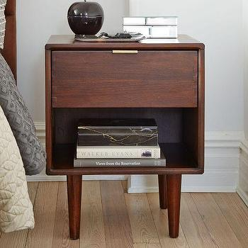 Storage Furniture - Miles + May Nightstand | West Elm - modern walnut nightstand, mid century walnut nightstand, walnut veneer nightstand, single drawer walnut nightstand,