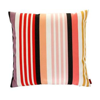 Pillows - Missoni Home Overall Cushion | Amara - pink black and white striped pillow, candy colored striped pillow, missoni striped pillow,
