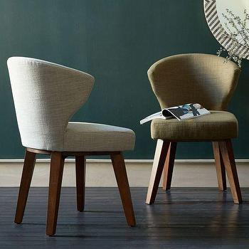Seating - Gaston Upholstered Chair | West Elm - danish modern chair, upholstered modern linen chair, curved back linen chair,