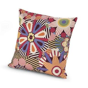 Pillows - Missoni Home Naima Cushion | Amara - orange purple red floral pillow, retro style floral pillow, missoni flower print pillow,