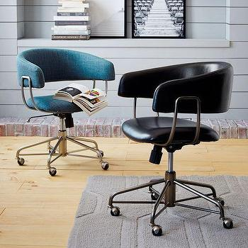 Seating - Halifax Upholstered Office Chair | West Elm - black leather curved back desk chair, modern black swivel desk chair, teal blue desk chair, teal blue swivel office chair,