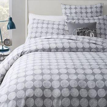 Bedding - Chalk Dottie Duvet Cover + Shams - Feather Gray | West Elm - gray and white dot bedding, gray and white polka dot duvet, gray and white dotted bed linens,