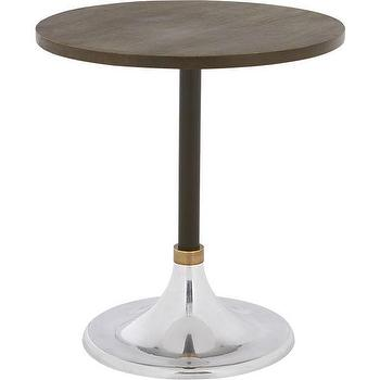 Tables - hackney wood cocktail table | CB2 - modern french bistro table, bistro table with aluminum base, cafe style pedestal table,