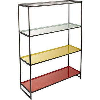 Storage Furniture - color block bookcase | CB2 - color blocked bookcase, bookcase with colored shelves, red yellow and black bookcase,