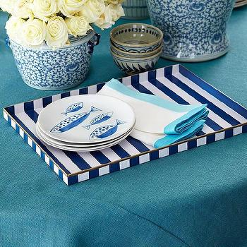 Decor/Accessories - Parisian Bistro Tray I Wisteria - navy striped tray, navy and white stripe tray, blue striped bar tray,
