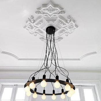 Lighting - radial chandelier | CB2 - modern black chandelier, black round contemporary chandelier, black iron chandelier with white bulbs,
