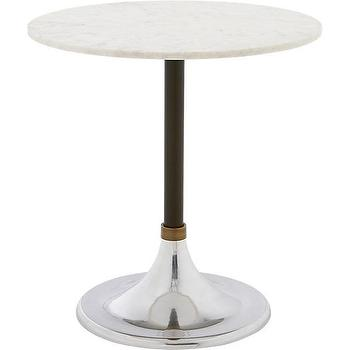 Tables - hackney marble cocktail table | CB2 - marble topped bistro table, cafe style pedestal table, marble topped diner style table,