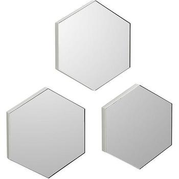 Mirrors - set of 3 swarm mirrors | CB2 - hexagon shaped mirror, hexagonal shaped mirror, white hexagonal mirror,