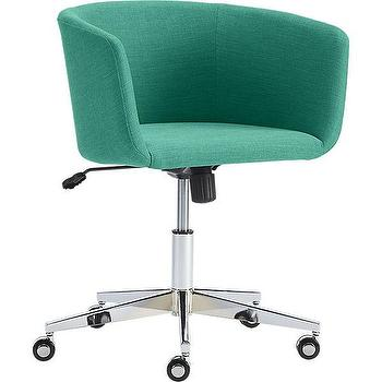 Seating - coup teal office chair | CB2 - teal linen office chair, teal office chair, swivel teal desk chair, chrome and teal desk chair,