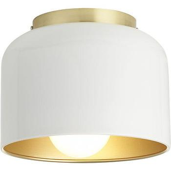 Lighting - bell white flush mount lamp | CB2 - modern white flush mount lamp, white flush mount pendant, white and brass flush mount pendant,