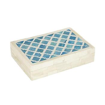Decor/Accessories - Trellis Bone Box I Wisteria - blue trellis inlaid box, blue bone inlaid box, blue bone inlay box,